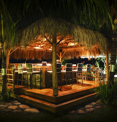 wooden pool side bar